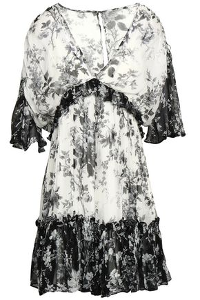 LOVER Ruffled printed silk-georgette mini dress
