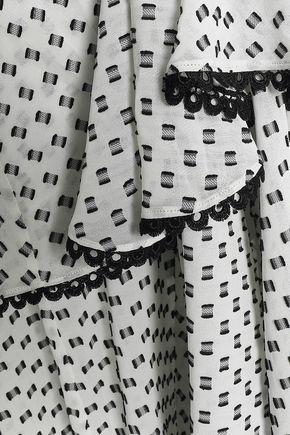 LOVER Tiered silk-blend fil coupé midi dress