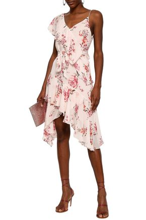 LOVER Ruffled floral-print georgette mini dress