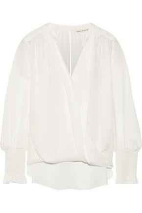 REBECCA TAYLOR Wrap-effect silk crepe de chine top