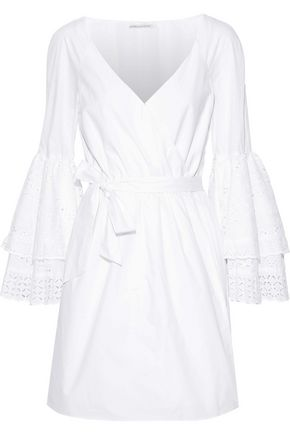 REBECCA MINKOFF Melly broderie anglaise-paneled poplin mini wrap dress