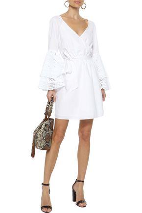 REBECCA MINKOFF Melly broderie anglaise-paneled poplin mini wrap dress