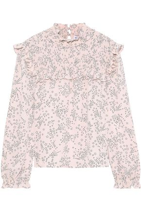 REBECCA MINKOFF Sharon ruffle-trimmed shirred printed crepe blouse