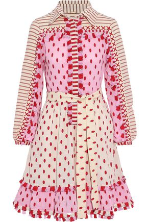 DODO BAR OR Jose embroidered striped cotton-gauze mini dress