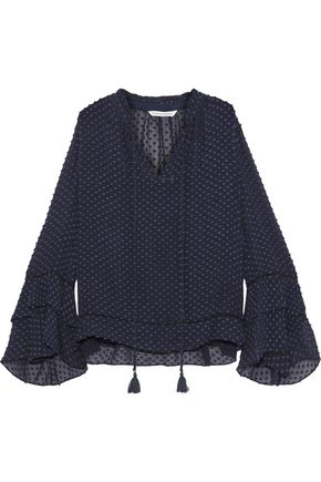REBECCA MINKOFF Liza tasseled fil coupé silk and cotton-blend blouse