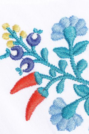REBECCA MINKOFF Boca crochet-trimmed embroidered crinkled-gauze mini dress