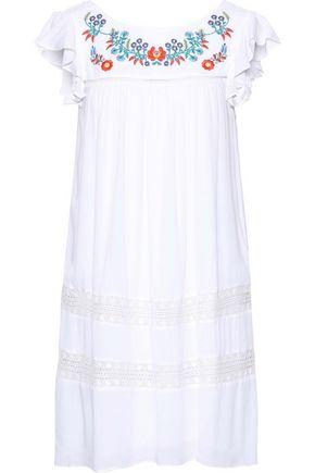 REBECCA MINKOFF | Rebecca Minkoff Boca Crochet-Trimmed Embroidered Crinkled-Gauze Mini Dress | Goxip