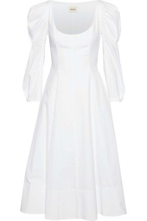KHAITE Edwina pleated cotton-poplin midi dress