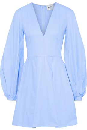 KHAITE Denise pleated cotton-poplin mini dress