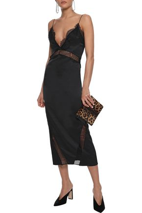 MICHAEL LO SORDO Lace-trimmed silk-charmeuse midi dress