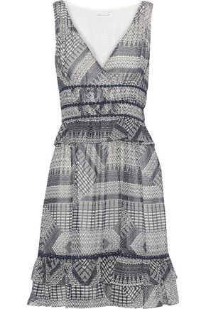 REBECCA MINKOFF Lucille ruffle-trimmed printed georgette mini dress