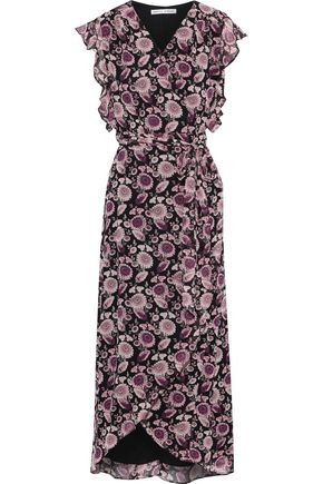 REBECCA MINKOFF Flossie ruffled floral-print georgette midi wrap dress