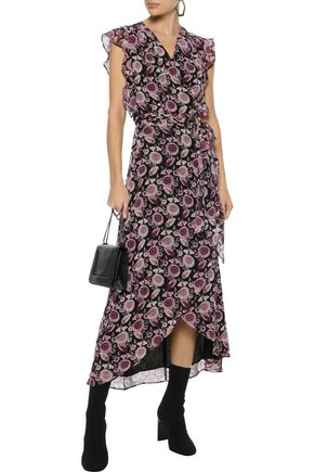 REBECCA MINKOFF Flossie ruffled floral-print georgette midi wrap dress