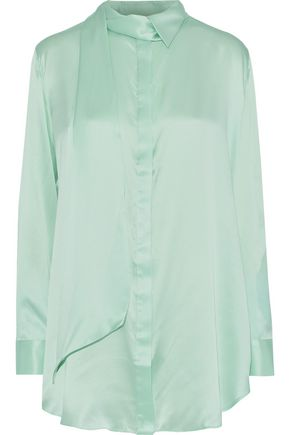 MICHAEL LO SORDO Tie-neck silk-satin blouse