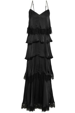 REBECCA MINKOFF Tiered lace-trimmed satin maxi dress
