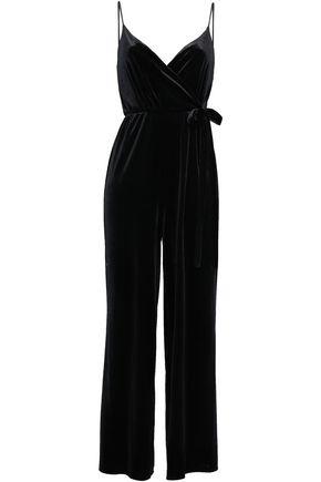 REBECCA MINKOFF Wrap-effect velvet jumpsuit