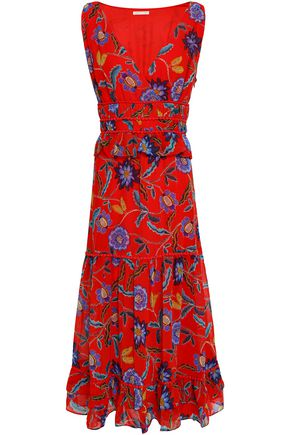 REBECCA MINKOFF Tiered floral-print georgette midi dress