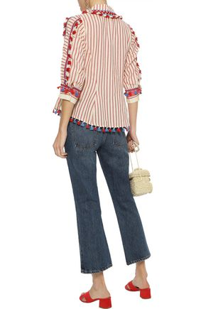 DODO BAR OR Skyler tie-front embroidered striped cotton-gauze top