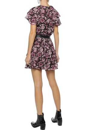 REBECCA MINKOFF Miley ruffled floral-print georgette mini dress