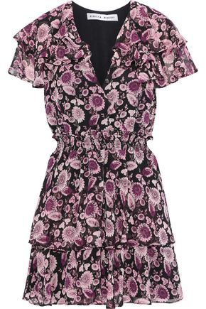 REBECCA MINKOFF Miley ruffled floral-print georgette mini dress