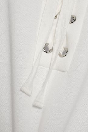 REBECCA MINKOFF Lace-up fleece sweatshirt