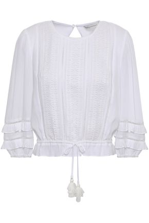 REBECCA MINKOFF Ruffle-trimmed embroidered georgette top