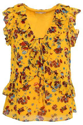 REBECCA MINKOFF | Rebecca Minkoff Ruffled Floral-Print Crepe Top | Goxip