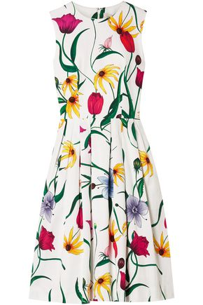CAROLINA HERRERA Pleated floral-print cotton-blend dress