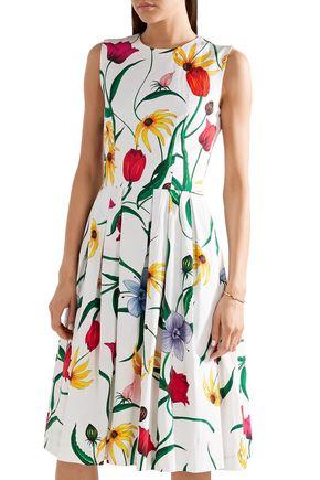CAROLINA HERRERA Pleated floral-print cotton-blend dress