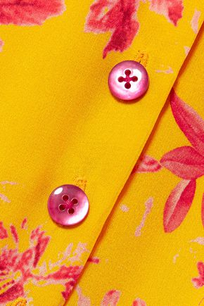 CAROLINA HERRERA Pintucked floral-print silk crepe de chine midi dress