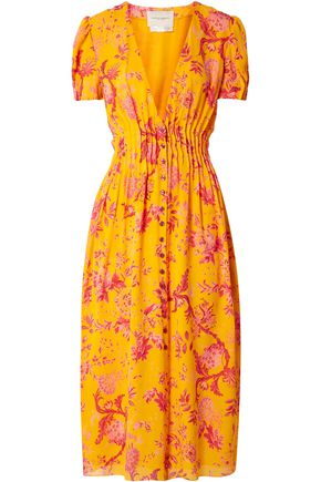 7b03cf4e8ba CAROLINA HERRERA Pintucked floral-print silk crepe de chine midi dress