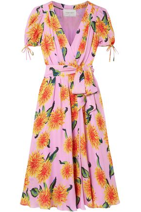 CAROLINA HERRERA Floral-print silk crepe de chine wrap midi dress