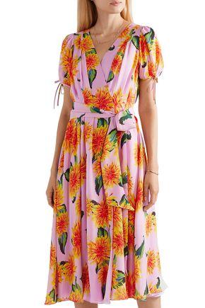 CAROLINA HERRERA Floral-print silk crepe de chine wrap midi dress