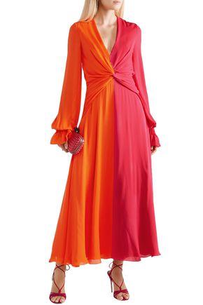 e0c987cc87f4f CAROLINA HERRERA Two-tone gathered silk-georgette maxi dress