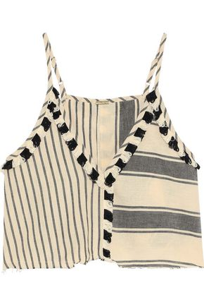 DODO BAR OR Cropped fringe-trimmed striped cotton-gauze camisole