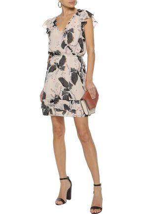 REBECCA MINKOFF Rhoda ruffled printed georgette mini dress