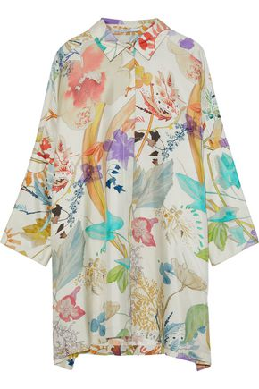 AGNONA Oversized floral-print silk-twill shirt