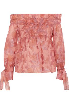 REBECCA TAYLOR Off-the-shoulder fil coupé silk-blend organza blouse