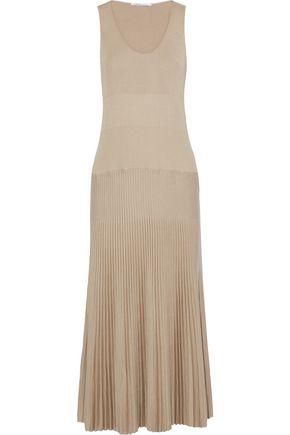 AGNONA Pleated cotton and silk-blend midi dress