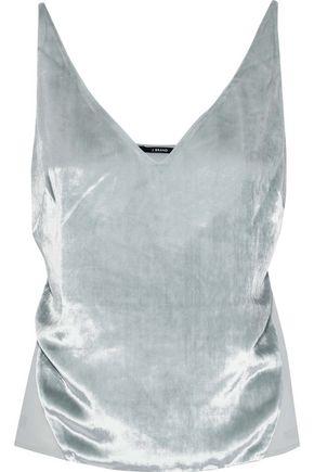 J BRAND Velvet-paneled crepe de chine camisole