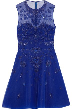 ZUHAIR MURAD Kanshou embellished silk-blend tulle mini dress