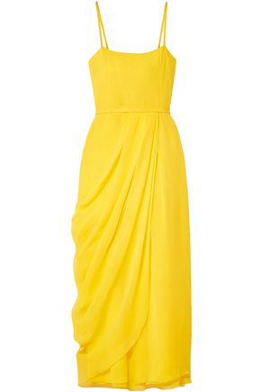 CAROLINA HERRERA Wrap-effect silk-georgette midi dress