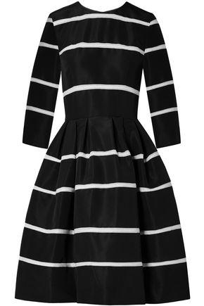 CAROLINA HERRERA Flared pleated crochet-trimmed silk-faille dress