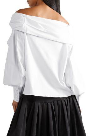 CAROLINA HERRERA Twisted off-the-shoulder cotton-blend poplin top