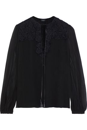 GIAMBATTISTA VALLI Guipure lace-paneled silk-georgette blouse
