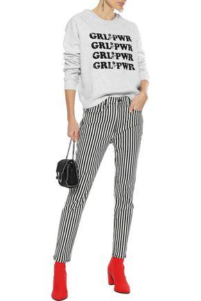 REBECCA MINKOFF Grl Pwr mélange cotton-blend fleece sweatshirt