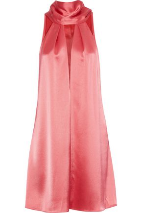 GALVAN  London Tie-neck cutout satin-crepe mini dress