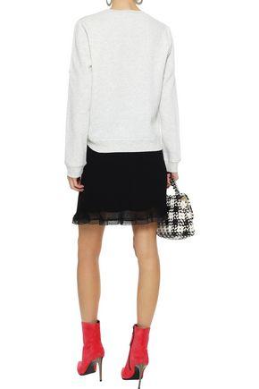 REBECCA MINKOFF Jenn cutout embroidered mélange fleece sweater
