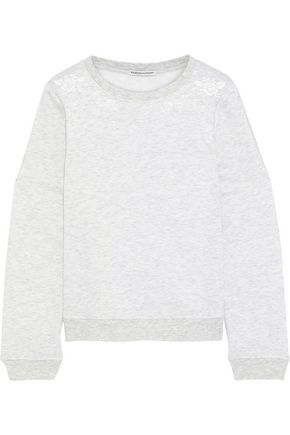 REBECCA MINKOFF Jenn cutout embroidered mélange fleece sweater