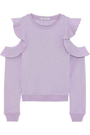REBECCA MINKOFF Gracie cold-shoulder ruffled cotton-blend fleece sweatshirt